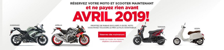 Reservez votre moto et scooter maintenant et ne payez rien avant avril 2019