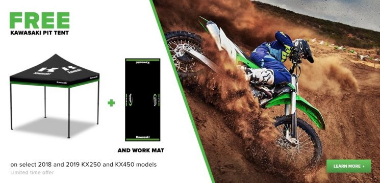 free kawasaki pit tent on select 2018 and 2019 kx250 and kx450 models