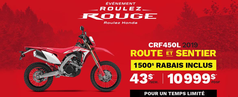 Honda CRF450L 2019 – Promos Juin 2019